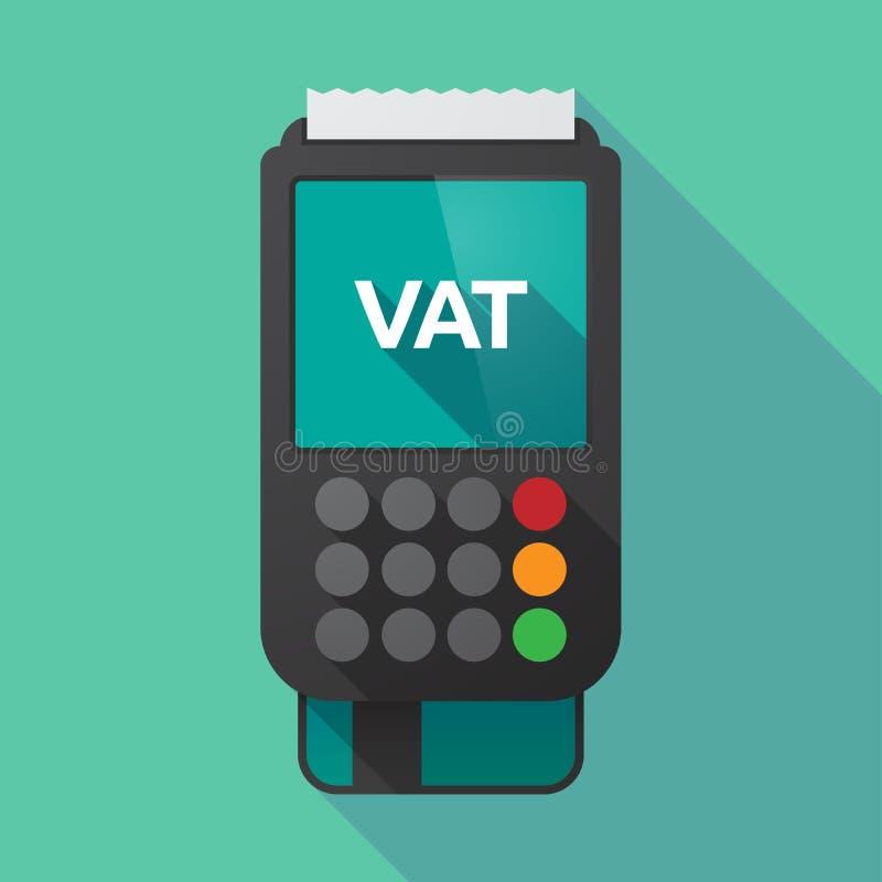 Lange schaduwdatafoon met de BTW van het belastings op de toegevoegde waardeacroniem stock illustratie