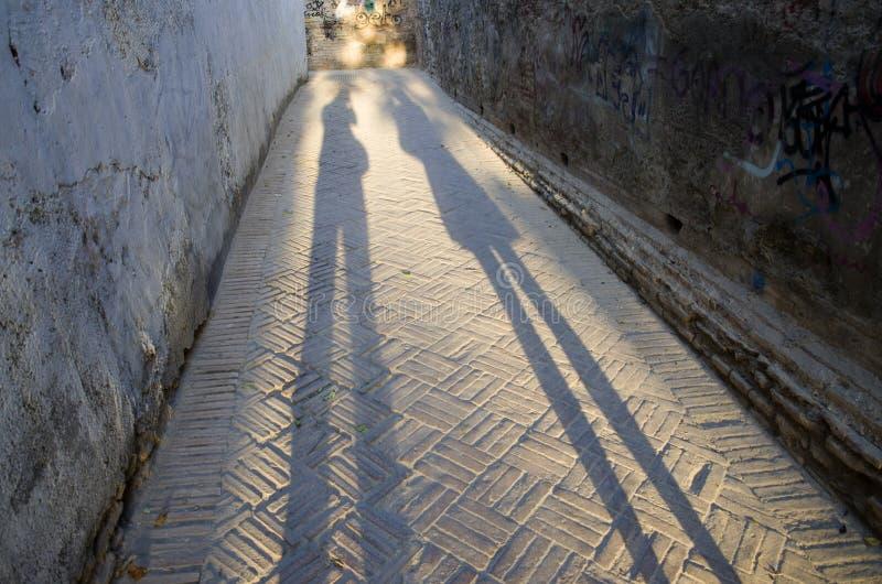 Lange schaduwen van de mens en vrouw stock foto's