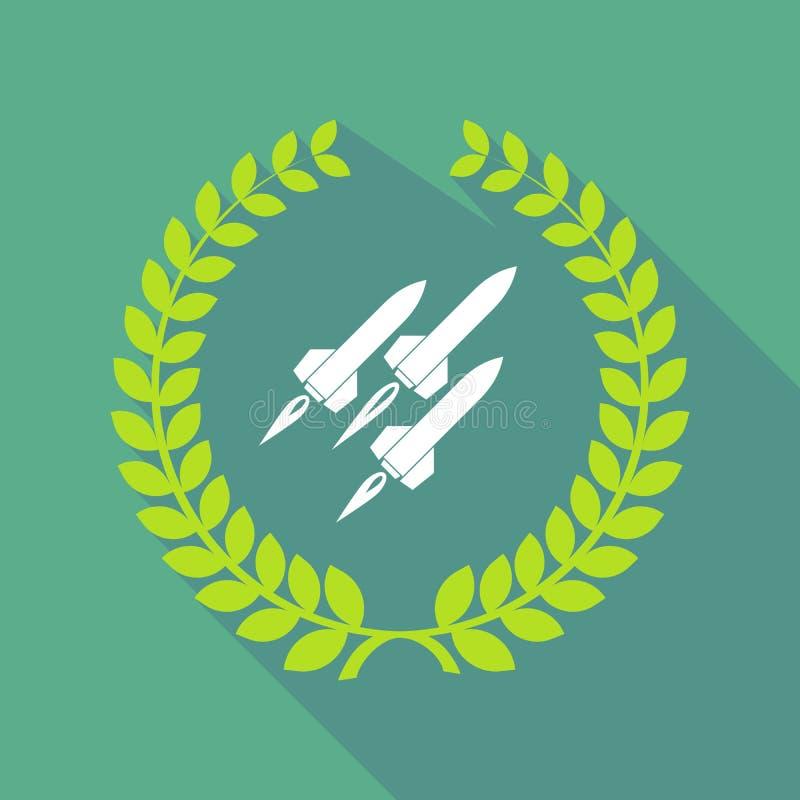 Lange Schattenlorbeer-Kranzikone mit Raketen lizenzfreie abbildung