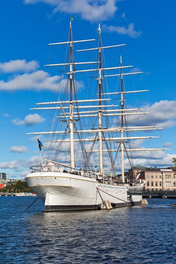 Lange schip'' AF Chapman '' in Stockholm, Zweden royalty-vrije stock fotografie