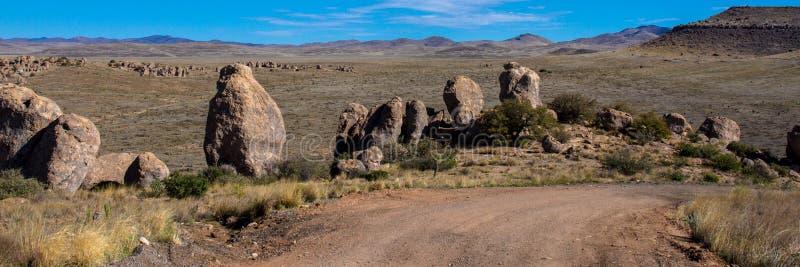 Lange Sicht der Stadt des Felsen-Nationalparks stockbilder
