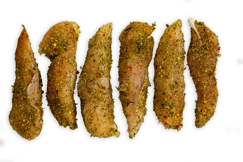 Lange stukken van vleeszitting op witte achtergrond royalty-vrije stock fotografie