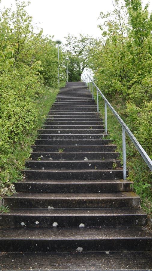 Lange Treppe, die oben Hügel geht lizenzfreies stockfoto