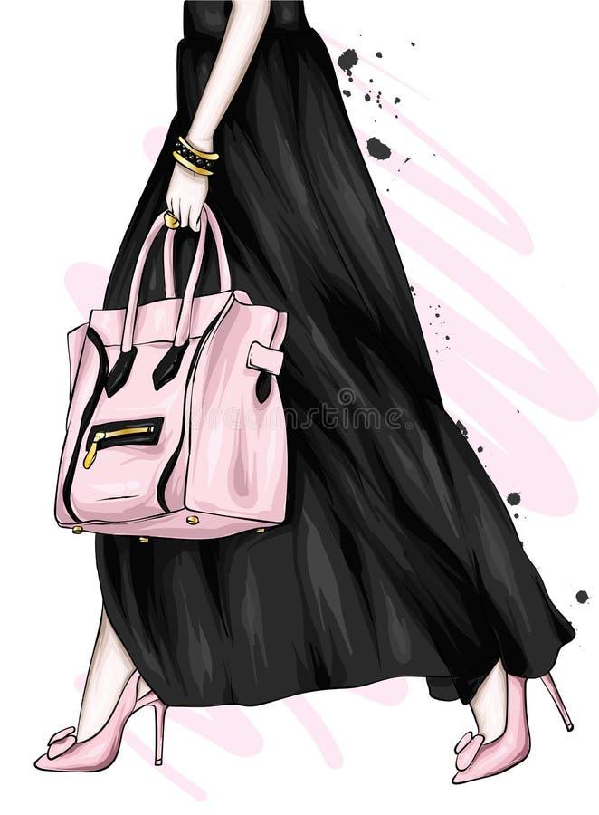 Lange vrouwelijke benen in een mooie rok en high-heeled schoenen Modieuze zak Manier en stijl, kleding en toebehoren vector illustratie