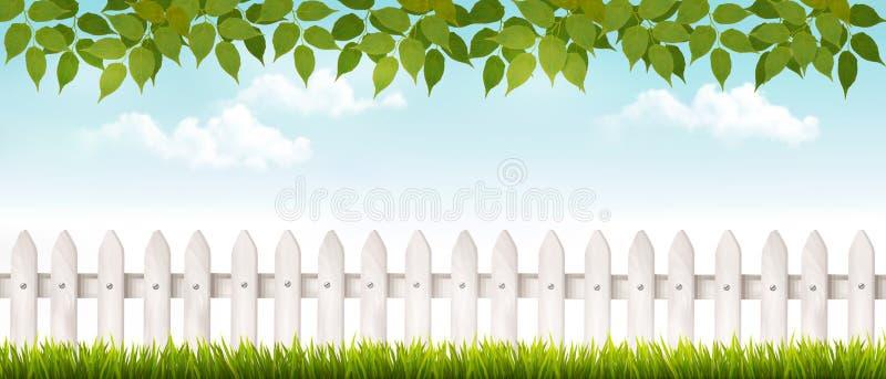 Lange weiße Zaunfahne mit Gras und Zaun vektor abbildung