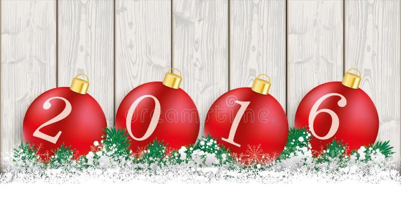 Lange Weihnachtskarten-hölzerne Latten 2016 stock abbildung