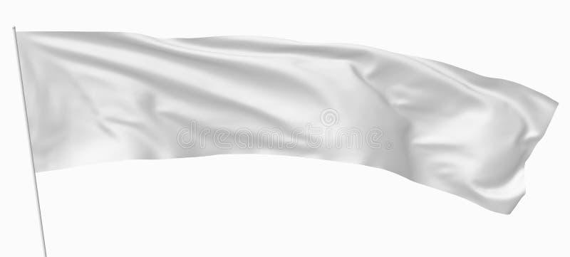 Lange witte vlag op vlaggestok royalty-vrije illustratie