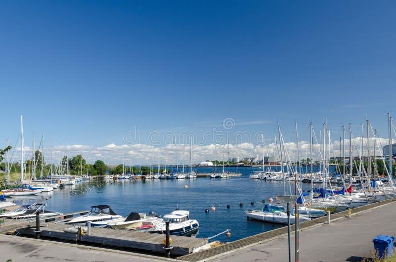 Langelinie小游艇船坞在哥本哈根 免版税库存照片