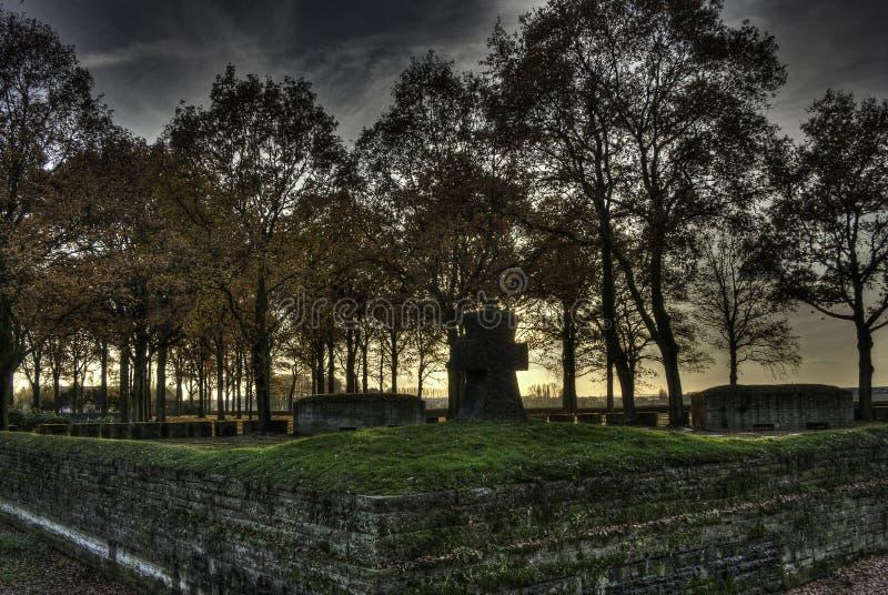 Langemark WWI Cemetery, Flanders Fields, Ypres, Belgium. Langemark Cemetery, German cemetery for fallen soldiers in World War I in Langemarck, Flanders Fields stock photos