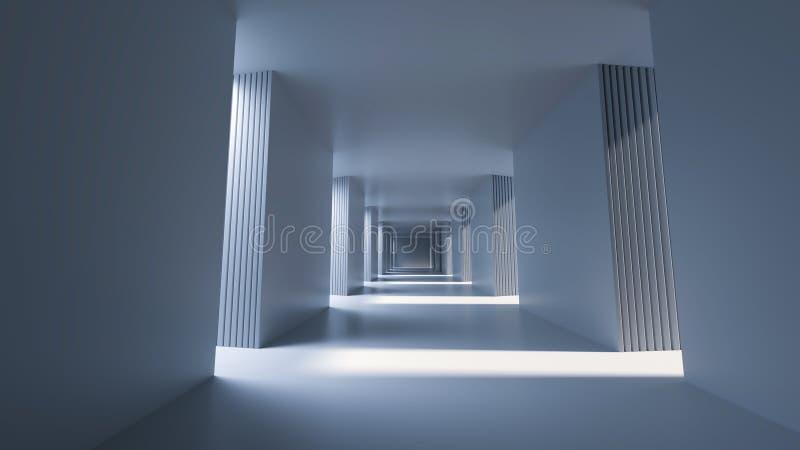 Langer heller Korridor mit Sonnenseitesonnenschein, Wiedergabe 3D lizenzfreie abbildung