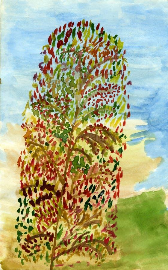 Langer Herbstbaum Stockbild