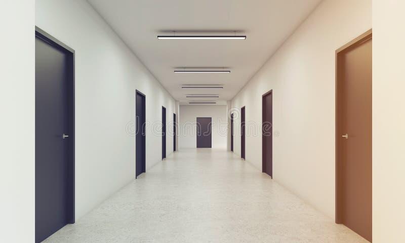 Langer Korridor mit den geschlossenen schwarzen Türen, getont lizenzfreie abbildung