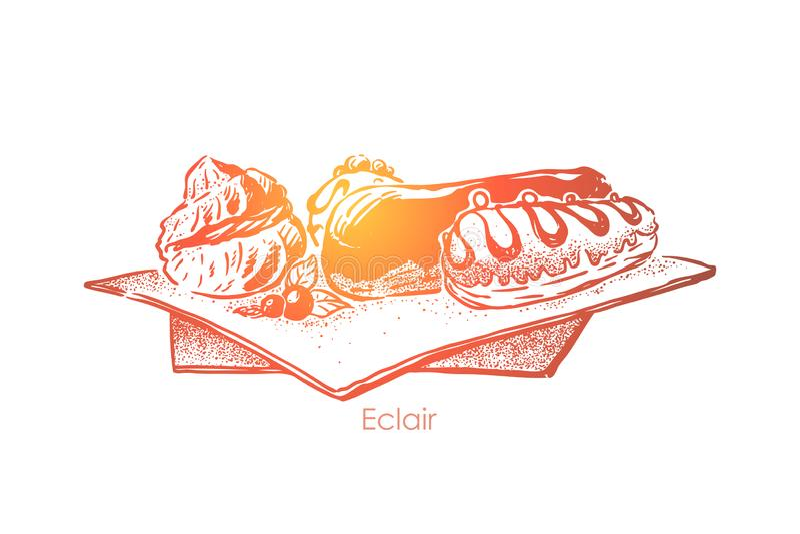 Langer sahniger Schokoladenkuchen, traditioneller französischer Nachtisch, köstlicher Konfektionsartikel, süßes Backen, Bäckereim vektor abbildung