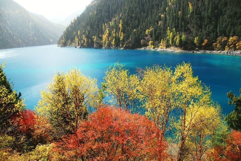Langer See von Jiuzhaigou im Herbst lizenzfreie stockfotografie