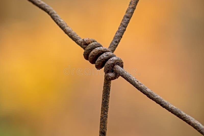 Langer vergessener Bauernhof-Zaun Rusty Wire Connection Ons A lizenzfreies stockbild