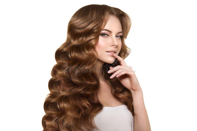Langes Haar Wellen Locken Frisur Schönheits Frau Mit Dem
