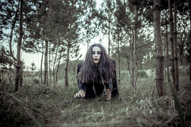 Langes Haarmädchen mit furchtsamem Make-up im Wald stockbilder