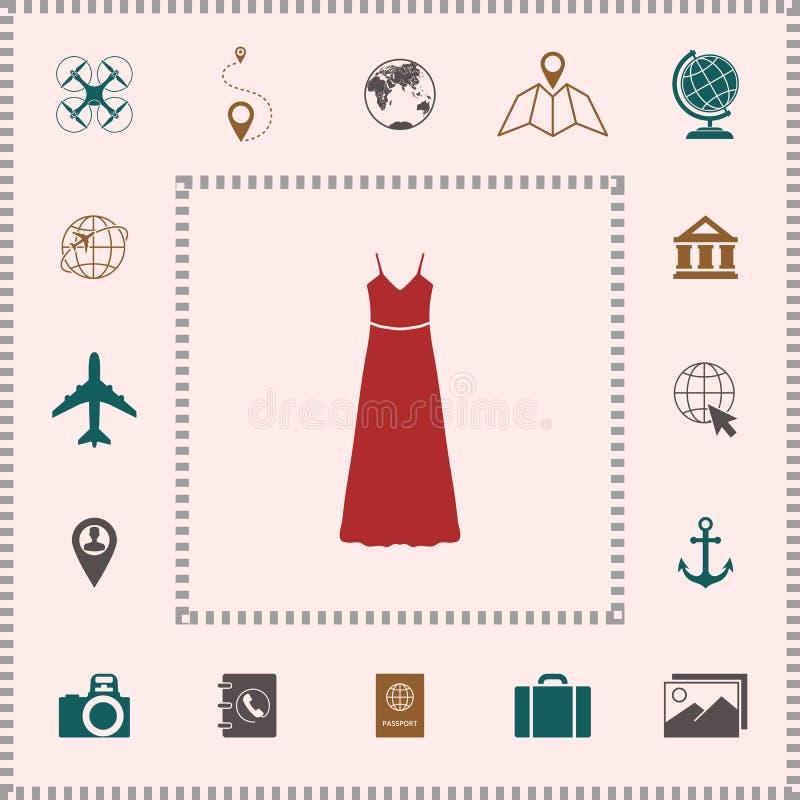 Langes Kleider-, Abendkleid oder sundress mit Gurt, das Schattenbild Menüpunkt im Webdesign vektor abbildung