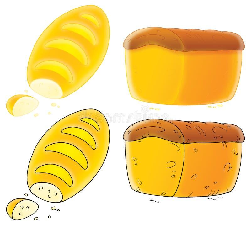 Langes Laib und braunes Brot vektor abbildung
