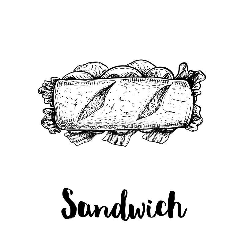 Langes Sandwich mit Schinken-, Speck-, Kopfsalat-, Tomaten- und Gurkenscheiben Beschneidungspfad eingeschlossen Handgezogene Skiz lizenzfreie abbildung
