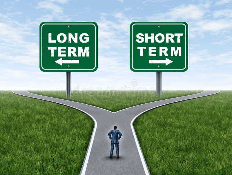 Langfristige und kurzfristige Investierung stock abbildung