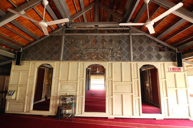 Langgar清真寺内部哥打巴鲁的,吉兰丹,马来西亚 免版税库存照片