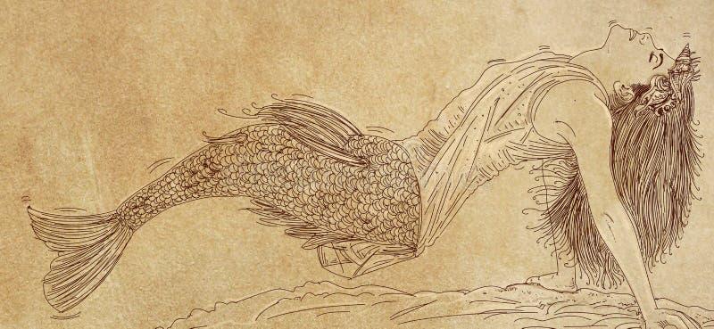 Langhaarige Meerjungfrau, die zu ihrer Seite sich lehnt und den Zuschauer gegenüberstellt lizenzfreie stockbilder