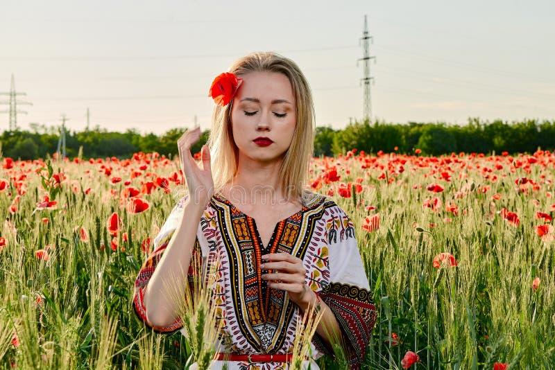 Langharig blonde jonge vrouw in een witte korte kleding op een gebied van groene tarwe en wilde papavers stock foto