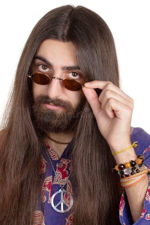 Langharige hippiemens royalty-vrije stock afbeelding