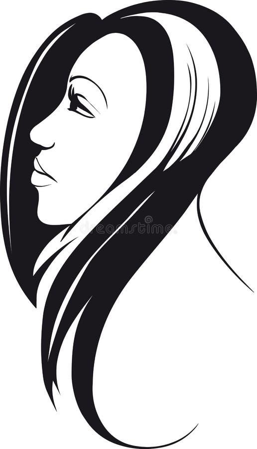 Langharige vrouw royalty-vrije illustratie