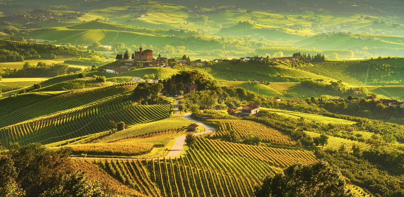 Langhe vineyards sunset panorama, Grinzane Covour, Piedmont, Italy Europe. Langhe vineyards sunset panorama, Grinzane Cavour, Unesco Site, Piedmont, Northern royalty free stock photos