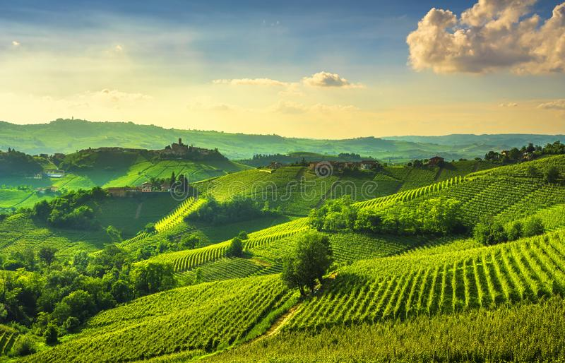 Langhe vineyards view, Castiglione Falletto and La Morra, Piedmo. Langhe vineyards sunset panorama, Castiglione Falletto and La Morra, Unesco Site, Piedmont stock photography