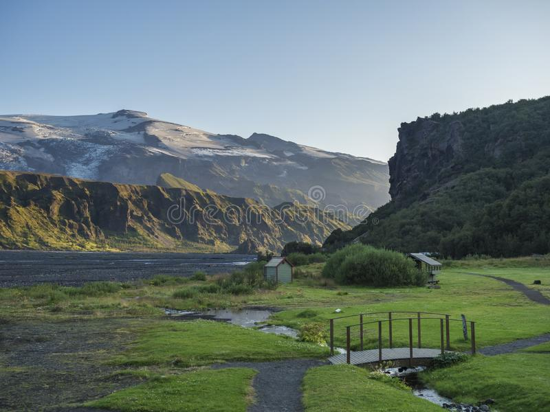 Langidalur camping site in Thorsmork with view on Godaland and Eyjafjallajokull glacier volcano and river Krossa. Highlands of Iceland, end of the Laugavegur royalty free stock photos