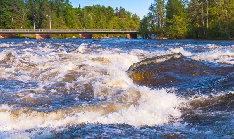 Langinkoski, snel lopend rivierwater in Kotka royalty-vrije stock afbeelding