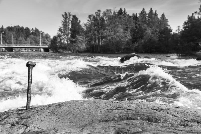 Langinkoski, snel rivierwater in Kotka stock afbeelding