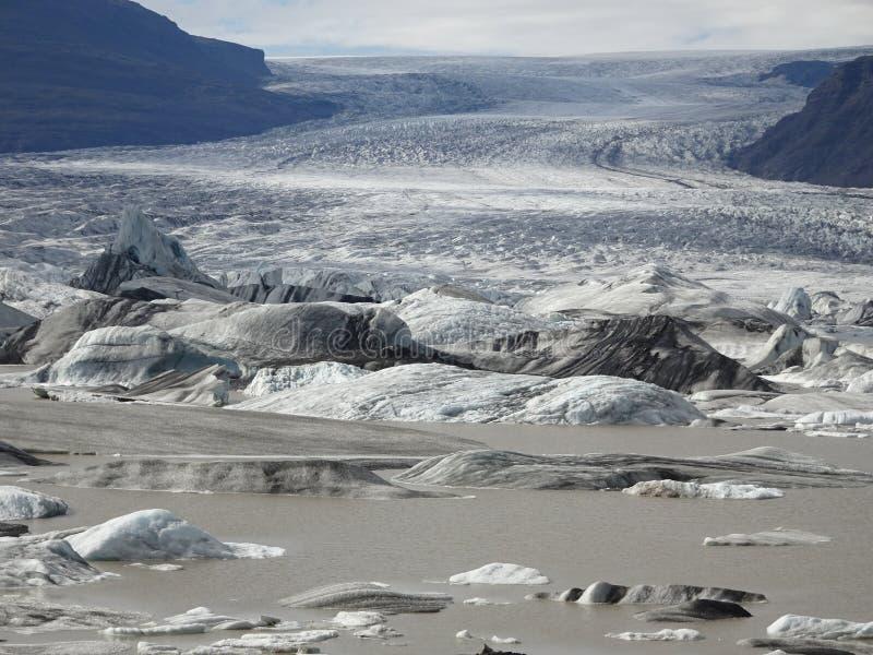 Langjökull den andra - största glaciären i Island arkivbilder