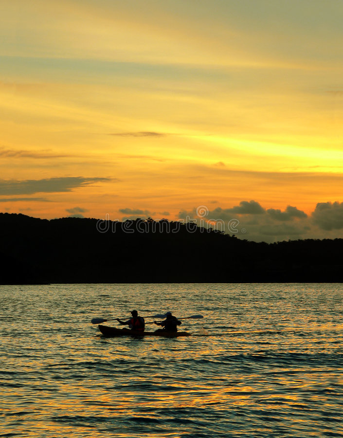 Langkawi Beach. Kayak / Canoe at Sunset stock photo