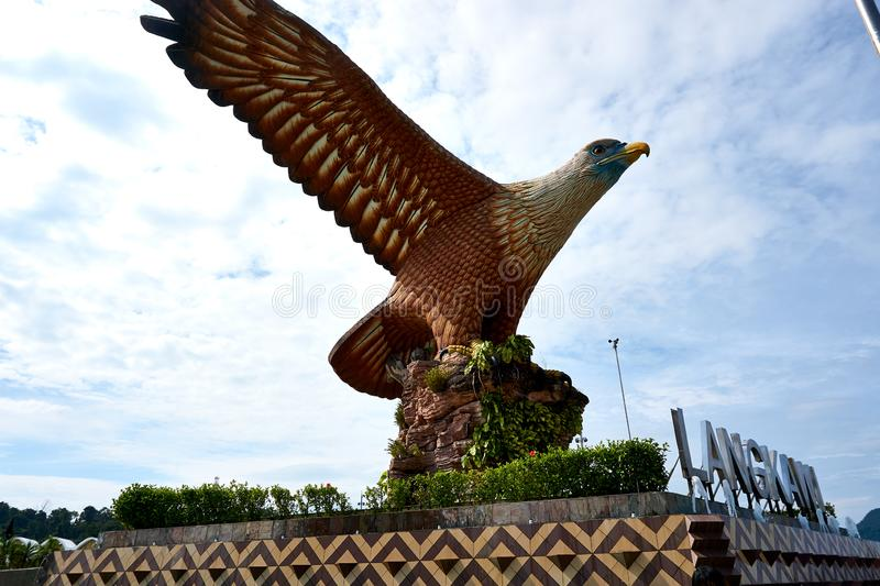 Langkawi, Malaysia - October 10, 2019. Eagle Square in Langkawi, near the Kuah port. This giant Eagle statue is the. Symbol of Langkawi island, Malaysia royalty free stock photography