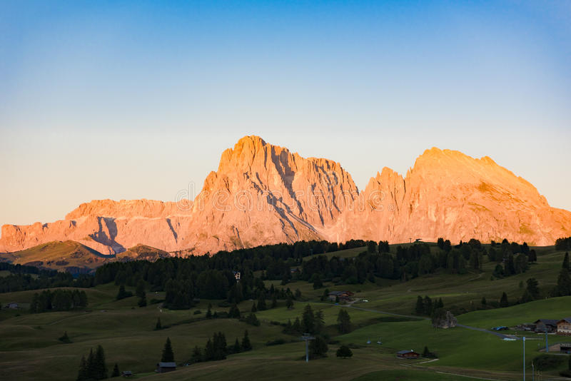 Langkofel Group with alpine glow, Dolomites, Northern Italy royalty free stock images