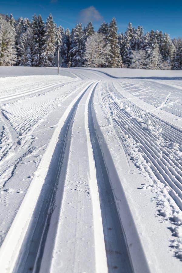 Langlaufloipe in Winterlandschaft stockbilder