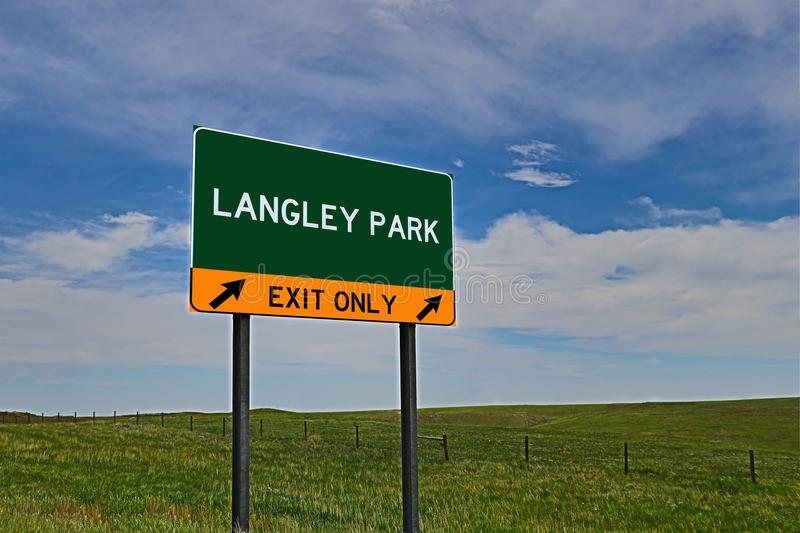 US Highway Exit Sign for Langley Park. Langley Park `EXIT ONLY` US Highway / Interstate / Motorway Sign stock photo