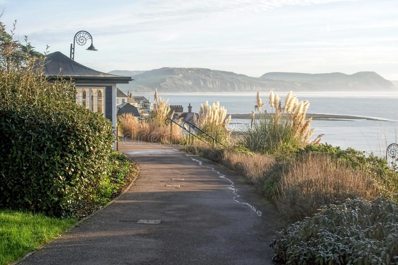 Langmoor-Lister trädgårdar - Lyme Regis arkivbilder