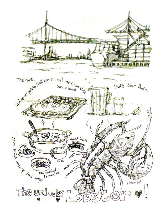 Langosta de los mariscos de Los Ángeles, California ilustración del vector