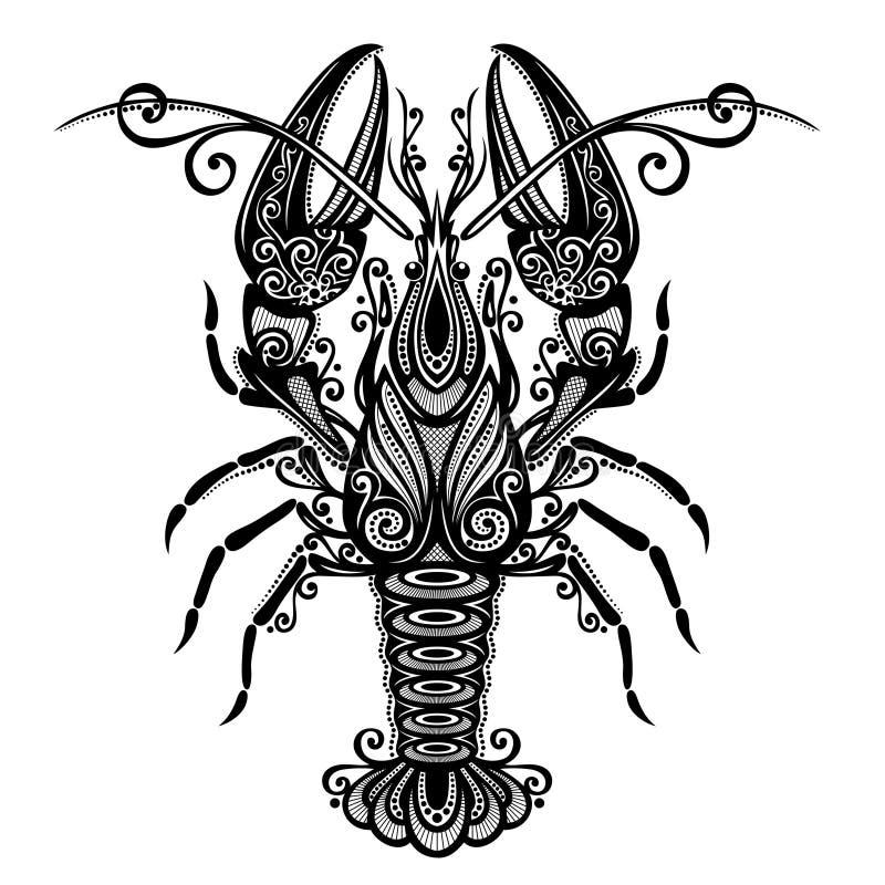 Langosta del mar stock de ilustración
