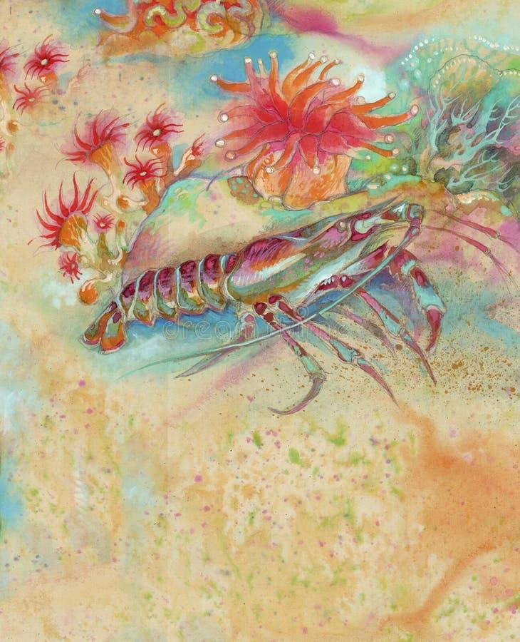 Download Langosta y algas stock de ilustración. Ilustración de algas - 7150569