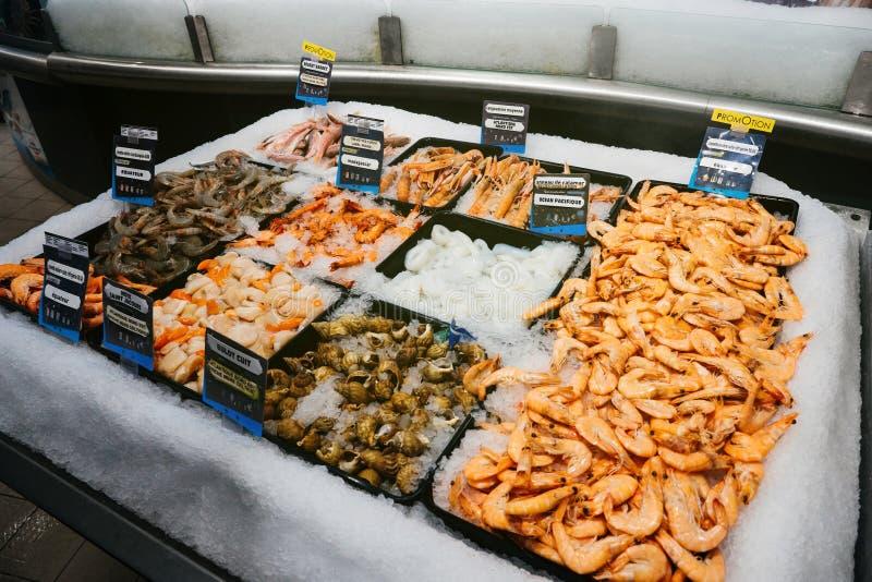 langoustine, bulot cuit, noix Άγιος Ζακ, crevettes, calamar, στοκ εικόνες