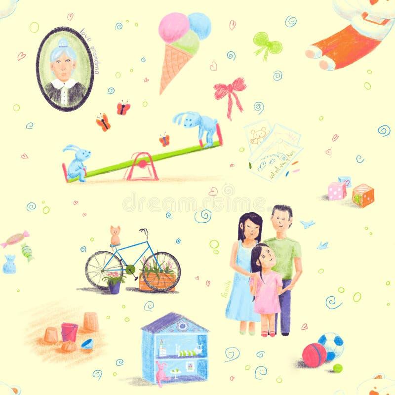 Langs geschilderd dien het naadloze patroon van de krabbelstijl op het thema van kinderjaren in illustratie voor kinderenontwerp stock illustratie