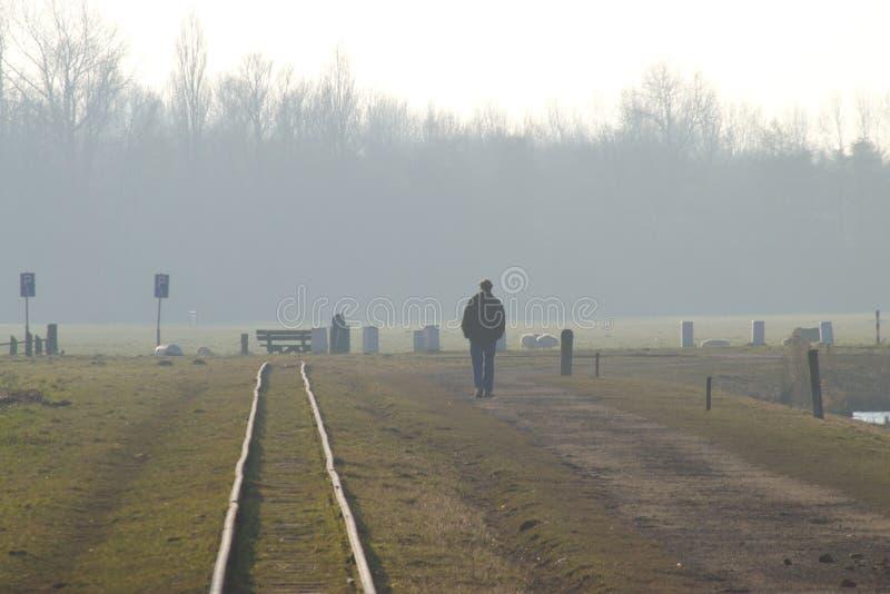 Langs het spoorwegspoor stock fotografie