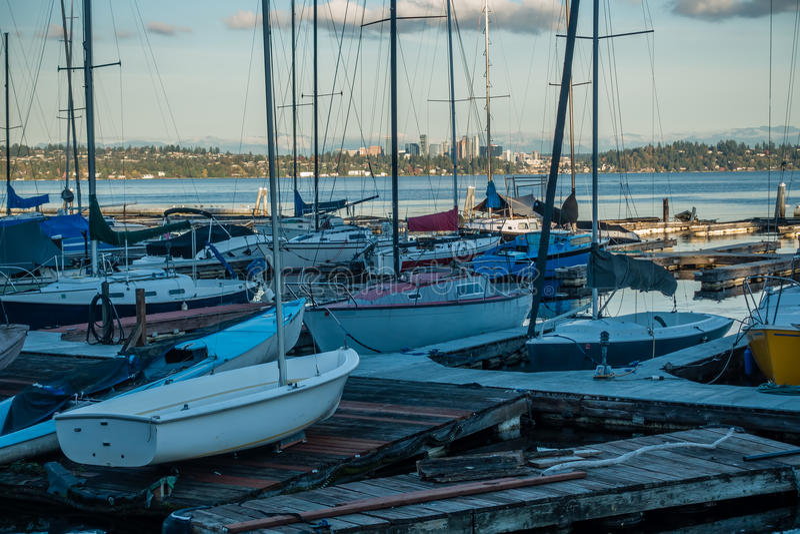 Langs Meer Washington - Boten stock afbeelding