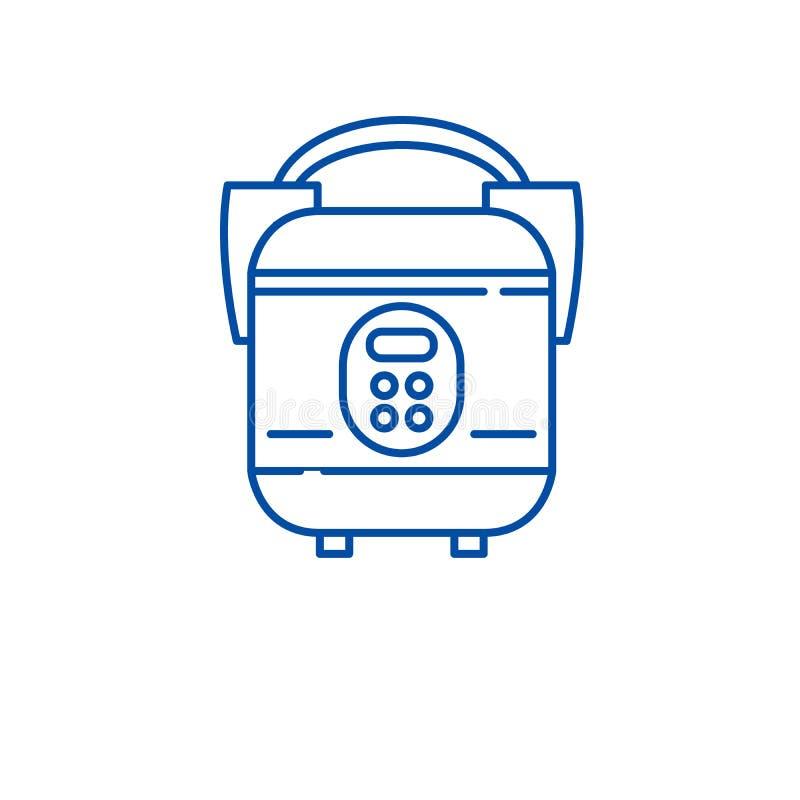 Langsame Kocherlinie Ikonenkonzept Flaches Vektorsymbol des langsamen Kochers, Zeichen, Entwurfsillustration vektor abbildung